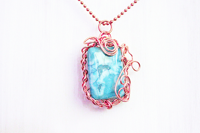 Blue crazy lace agate and copper pendant
