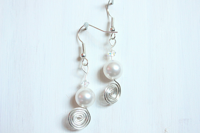 Swarovski Elements white pearl and crystal earrings with silver spirals