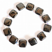Square black onyx and Swarovski crystal bicone stacking bracelet