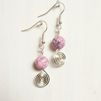 Pink howlite and silver spiral handmade dangle earrings