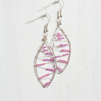 Pink beaded leaf shaped silver wire wrapped handmade drop earrings