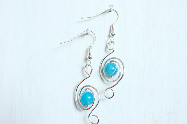 Blue banded agate and silver spiral handmade dangle earrings