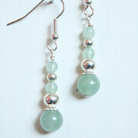 Pale green aventurine handmade dangle earrings, green and silver earrings