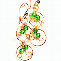 Handmade green faceted glass bead and copper multi link dangle earrings