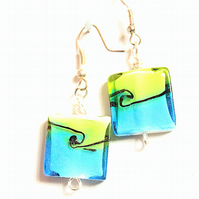 Blue and green square lampwork bead dangle earrings