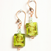 Green square lampwork bead dangle earrings
