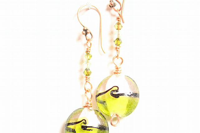 Green and white circle lampwork bead dangle earrings with Swarovski crystals