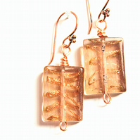Copper and coffee rectangular lampwork glass earrings