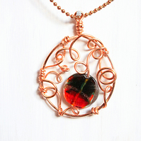 Red and green lampwork glass and swirls of copper fantasy pendant and chain