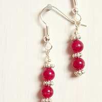 Red Malaysian jade and silver dangle earrings with daisy spacers