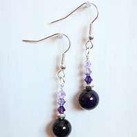 Deep purple agate and Swarovski crystal dangle earrings