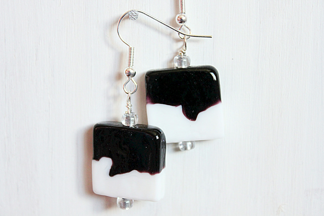 Black and white square lampwork bead dangle earrings, Friesian cow earrings