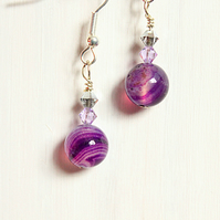 Purple banded agate and Swarovski crystal dangle earrings