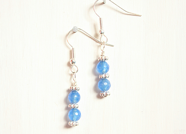 Blue Malaysian jade and silver dangle earrings with daisy spacers