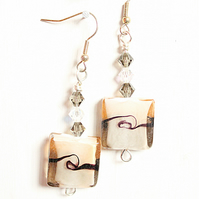Coffee and cream square lampwork glass dangle earrings with crystals