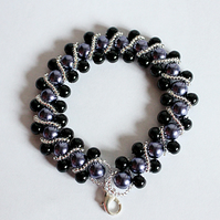 Purple and black pearl beaded gothic bracelet with lobster clasp