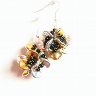 Gold and silver flower beaded dangle earrings, Czech ripple bead earrings
