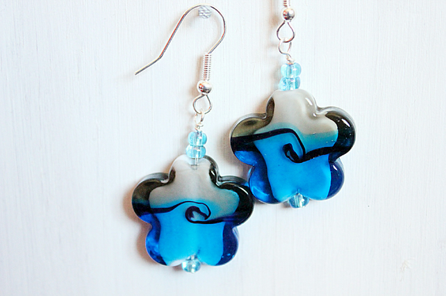 Blue and grey flower lampwork glass bead dangle earrings with blue glass beads