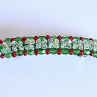 Christmas bead and crystal hair clip, Red and green barette, Hair accessory