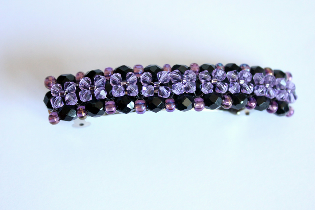 Gothic bead and crystal hair clip, Black and purple barette, Hair accessory