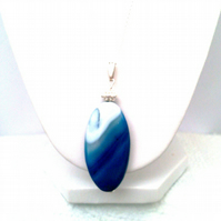 Blue Agate Pendant with Sterling Silver Chain, Large Blue Pendant