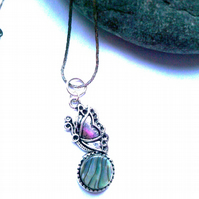 Abalone Paua Shell Necklace, Butterfly Shell Pendant