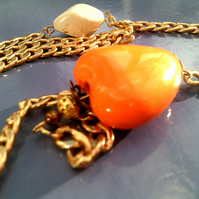 Orange Heart & Chain Necklace, Gold Chain Heart Necklace