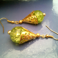 Green Crackled Glass Earrings, Glass Earrings with Gold Cap Earrings
