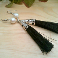 Freshwater Pearl & Tassel Earrings, Black Tassel & White Pearl Jewellery