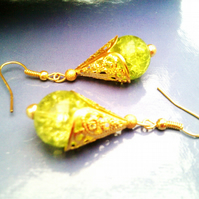 Green Crackled Glass Earrings, Lime Green Dangle Gold Earrings