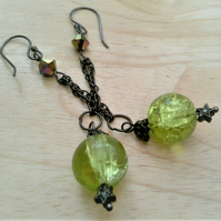 Green or Yellow Crackled Glass Earrings, Black Plated Long Chain Jewellery