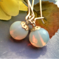 White Opalite Earrings, Silver & White Earrings, White Dangle Earrings