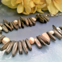 Grey Shell & Freshwater Pearl Necklace, Shell & Pearl Jewellery