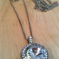 Austrian Crystal Long Necklace, Crystal Double Layered Chain Pendant