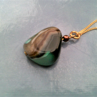 Green Agate Pendant Necklace, Gold Filled Agate Jewellery, Sterling Silver