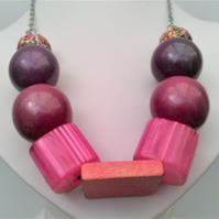 Pink & Purple Chunky Necklace, Large Beaded Chunky Jewellery