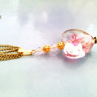 Pink Heart Glass Necklace, Pink Quartize Gemstone, Long Gold Necklace