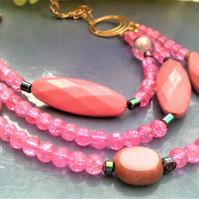 Pink Necklace, Pink Layered Bead Necklace, Gold Plated Bead Jewellery