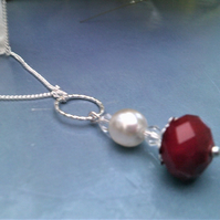 Red and White Crystal Necklace, Red Crystal & White Pearl Hoop Necklace