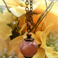 Sunstone & Copper Pendant Necklace, Copper Plated Chain & Peach Orange Stone