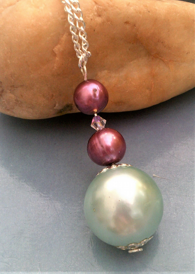 Mint Green Bead & Purple Shell Pearl Pendant Necklace and Silver Plated Chain