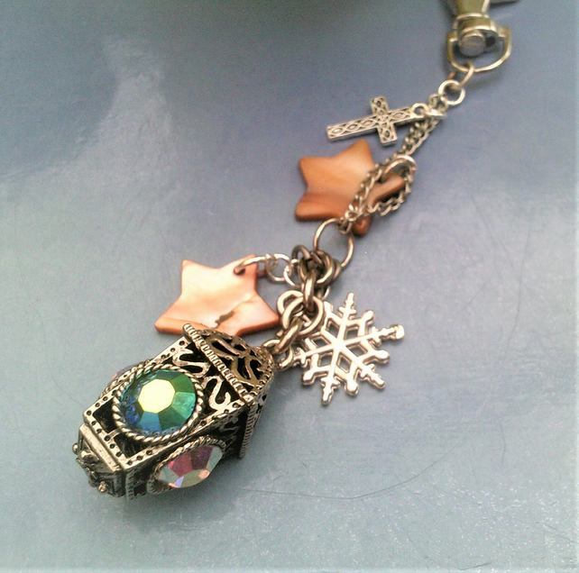 Bag Charm, Lamp Charm with Crystals and Shell Stars