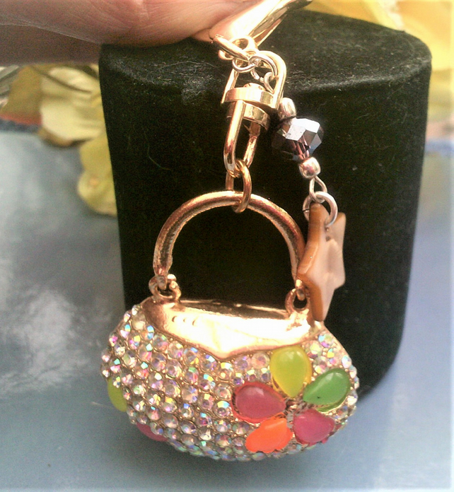 Bag Charm, Handbag Bag Charm with Crystals and Mother of Pearl Shell Stars