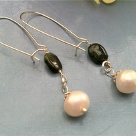 White Freshwater Pearls & Emerald Earrings, Long Pearl Gemstone Earrings