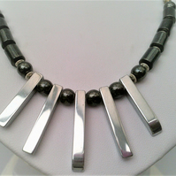 Black Hematite & Silver Bar Hematite Necklace, Black & Silver Fan Necklace