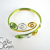 Green, yelow and silver handmade swirl wave wire bangle