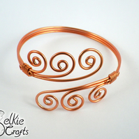 Copper Swirl Wave Handmade Wire Cuff Bangle