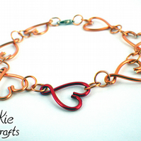 Linked Hearts Handmade Red and Copper Bracelet