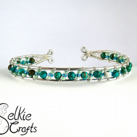 Turquoise Wire Wrapped Cuff Bracelet Bangle