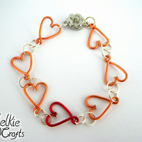 Linked Hearts Bracelet, mothers day gift for mum, Heart jewellery